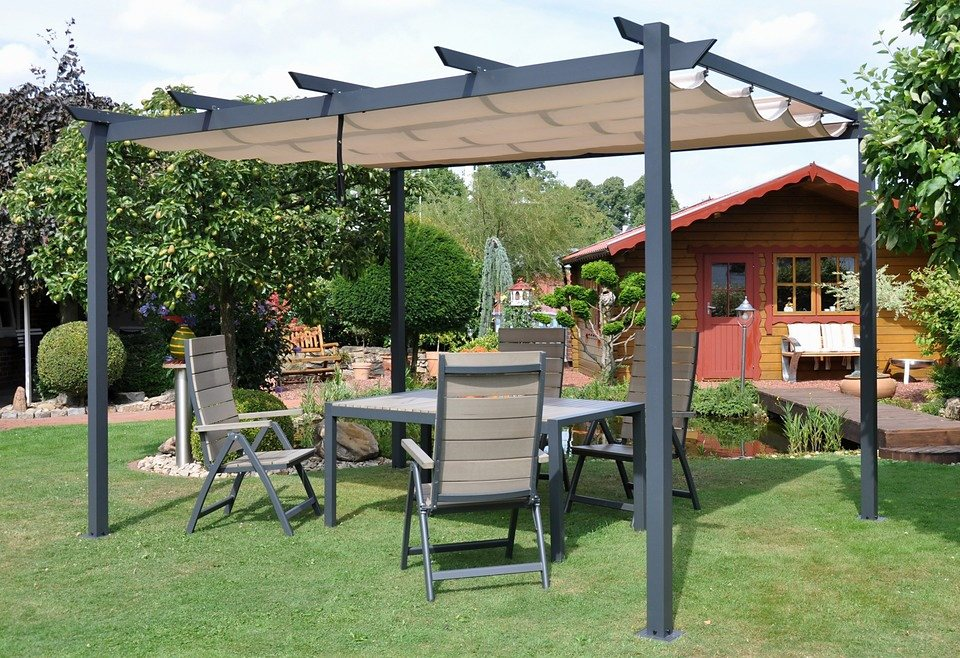 leco pavillon flachdachpergola 3 x 4 m 300 x 400 cm aluminiumpfosten online kaufen otto. Black Bedroom Furniture Sets. Home Design Ideas