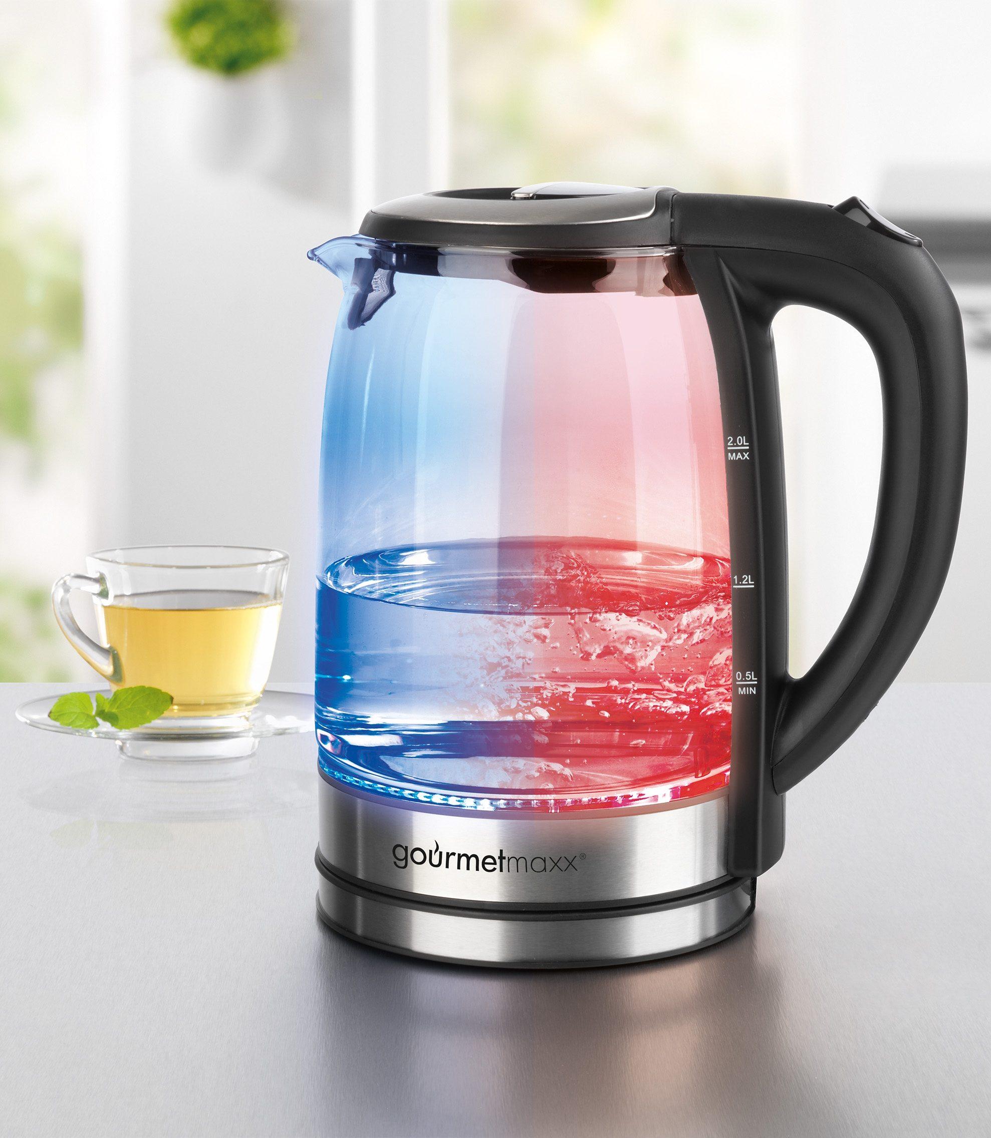 gourmetmaxx Glas-Wasserkocher mit LED-Farbwechsel, 2 Liter, 2200 Watt