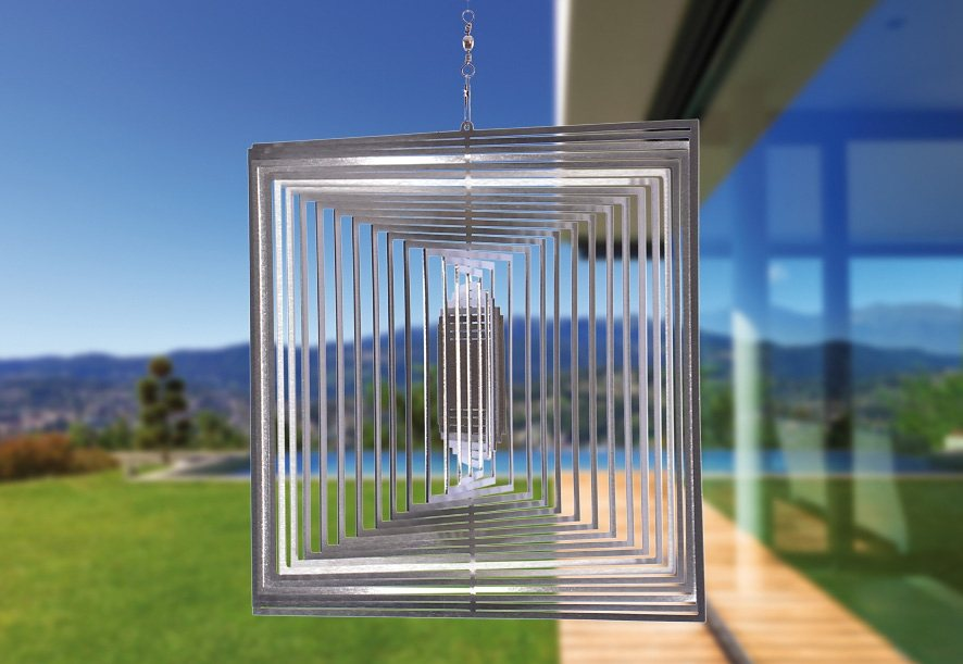 Windspiel, »Quadrat XL«, ILLUMINO in silberfarben