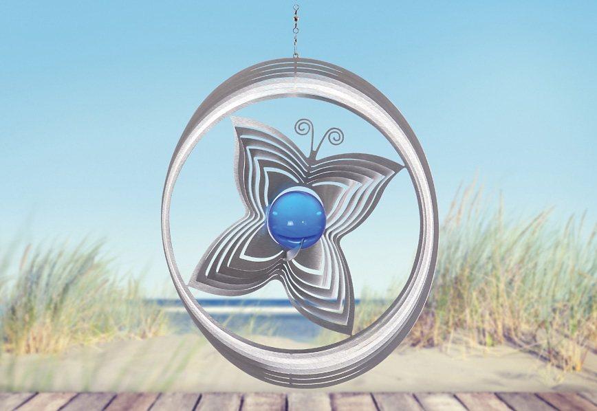 Windspiel, »Papillon«, ILLUMINO in blau