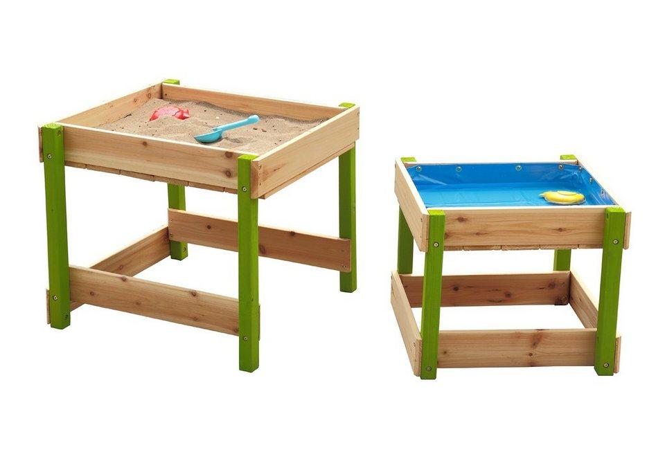 Sun Spieltisch-Set aus Holz für Sand und Wasser mit Abdeckplane, natur-grün in natur-grün