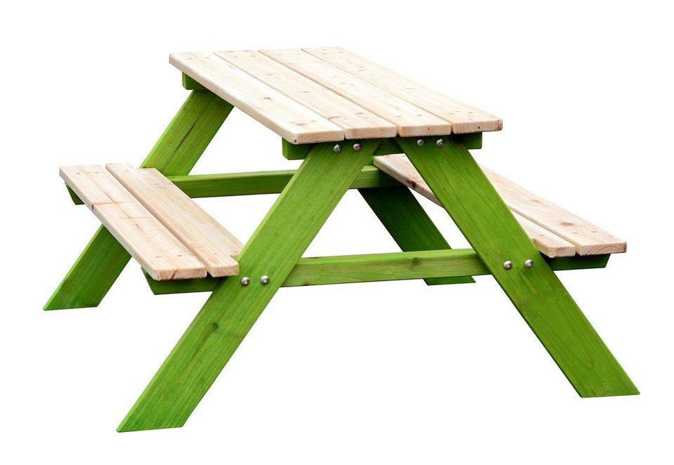 Sun Kindersitzgarnitur aus stabilem Holz in natur-grün in natur-grün