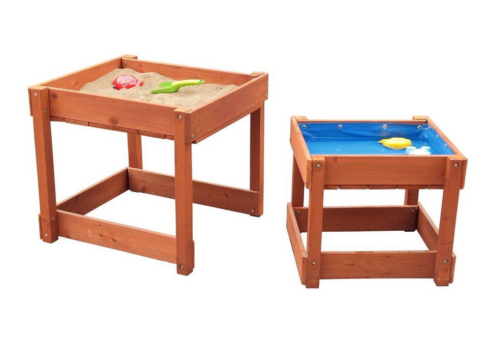 Sun Spieltisch-Set aus Holz für Sand und Wasser mit Abdeckplane, braun in braun