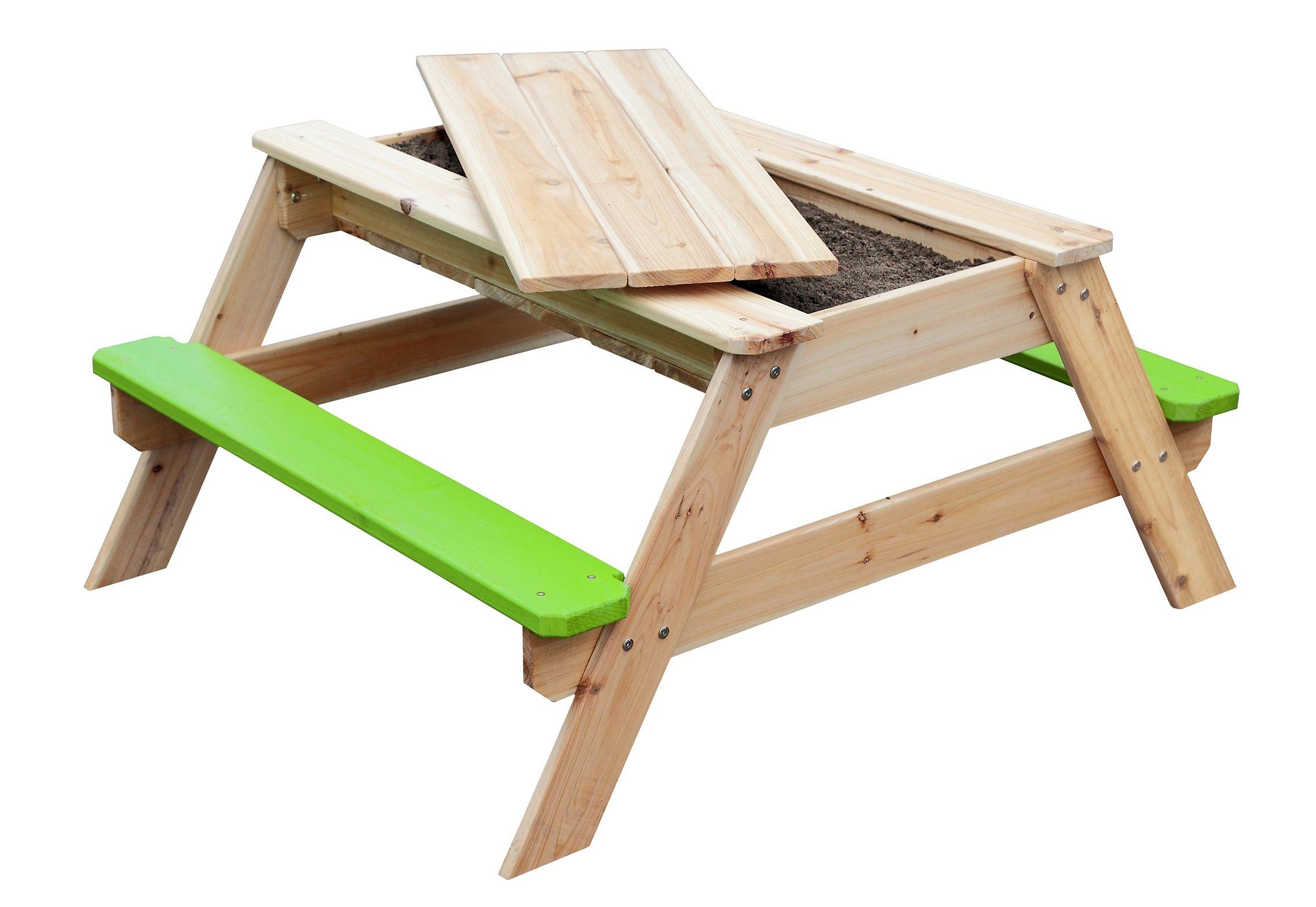 Sun Kindersitzgarnitur aus Holz mit integriertem Sandkasten, natur-grün