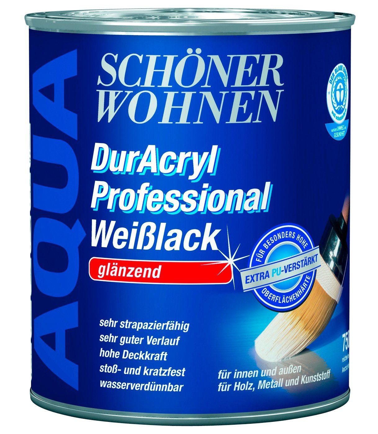 Weißlack »DurAcryl Professional glänzend, 2,5 L«