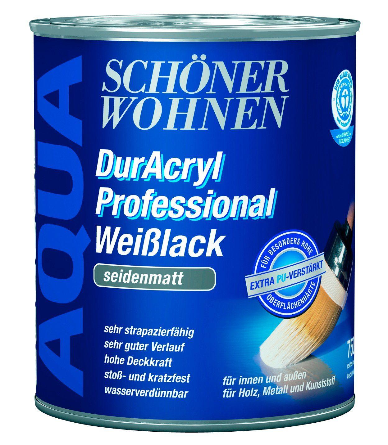 Weißlack »DurAcryl Professional seidenmatt, 2,5 L«