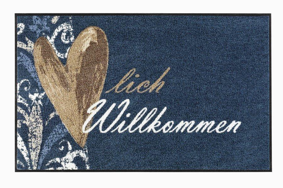 Fußmatte »Herzlich Willkommen« in blau