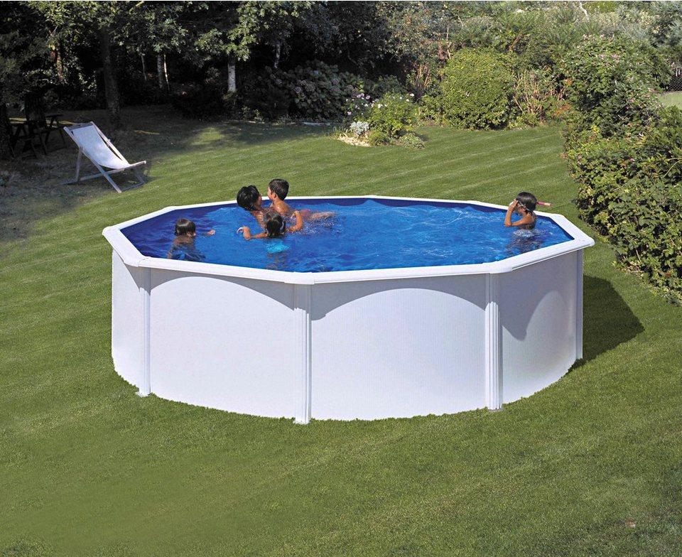 Summer Fun Komplett-Set (9-tlg.): »Aufstell-Rundpool mit breitem Handlauf in Weiß« (in 3 Größen) in weiß