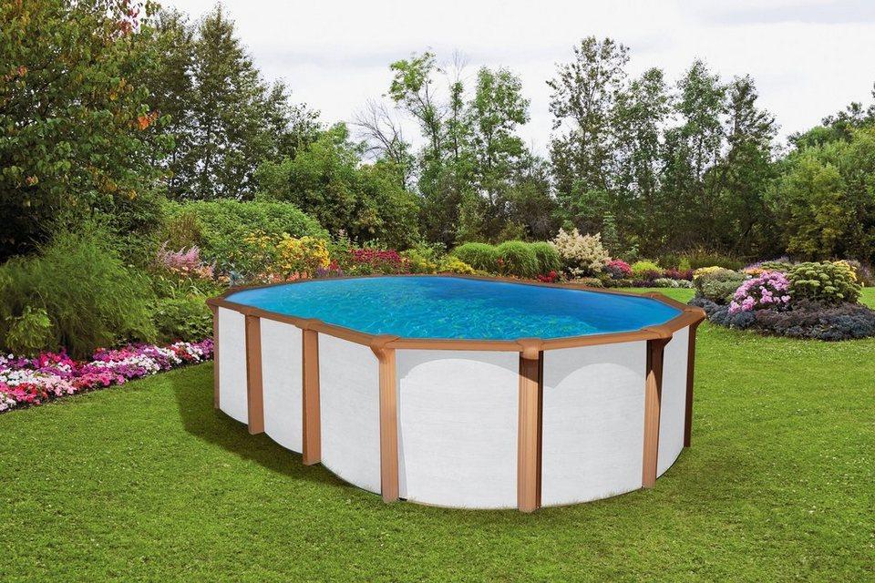 Set: Ovalpool »White Timber« (10-tlg.) in weiß