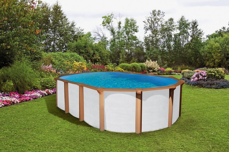 Set: Ovalpool »White Timber 130 cm Tiefe« (5-tlg.) in weiß