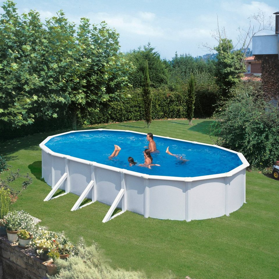 Summer Fun Set (6-tlg.): Aufstell-Ovalpool mit breitem Handlauf in Weiß« (in 3 Größen) in weiß