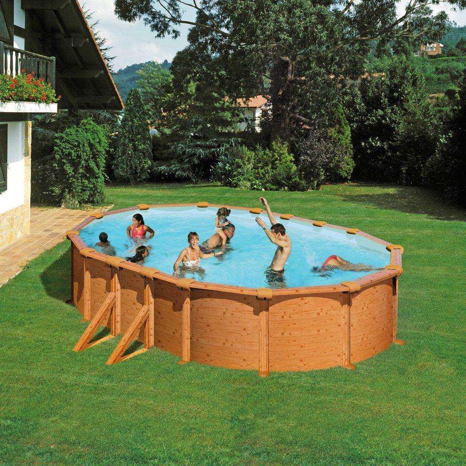 Summer Fun Set: Ovalpool »Holz-Optik 132 cm Höhe« (10-tlg.) in braun