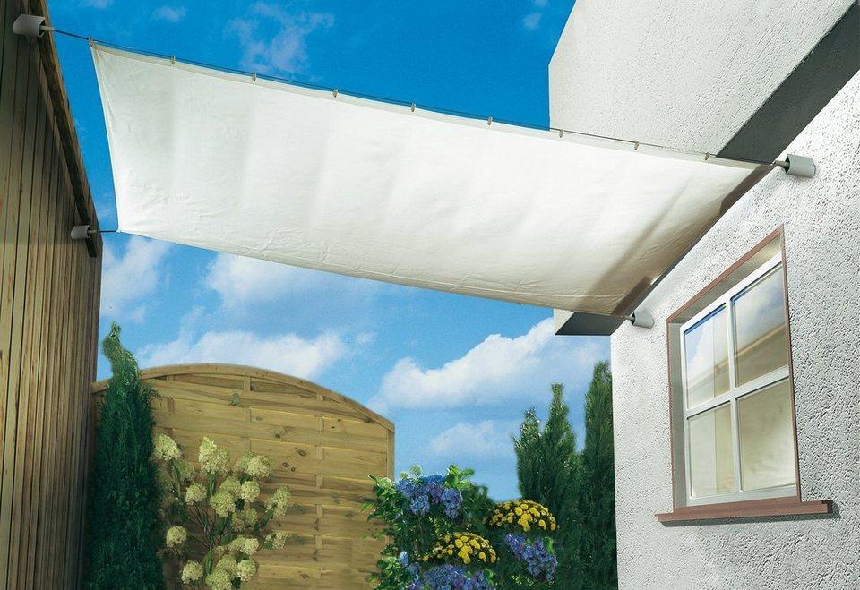 sonnensegel mit befestigungs set elfenbeinfarben in 3. Black Bedroom Furniture Sets. Home Design Ideas