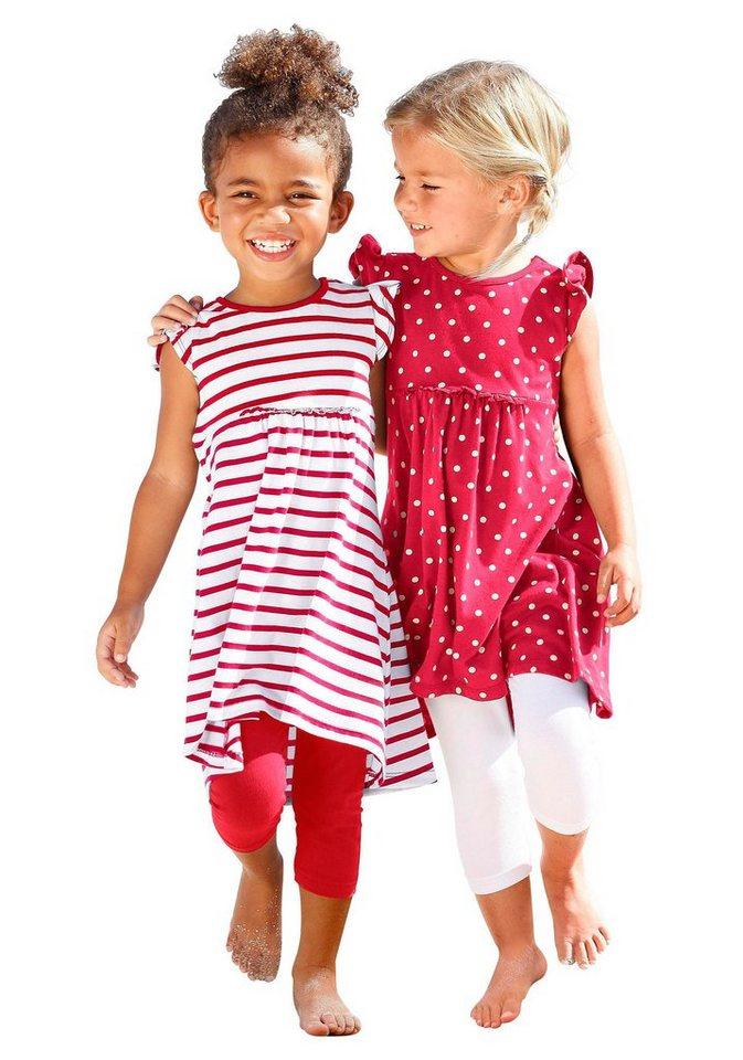 Kidoki Jerseykleid mit Streifen und Punkten (Packung, 2 tlg.) in rot-weiß