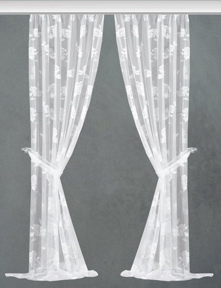 Gardine, Vhg, »Barbara«, mit Kräuselband (2 Stück) in weiß
