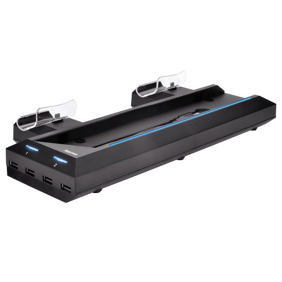 Hama Multistand Bluelight für PS4, Ladestation für 2 Controller »vertikaler Standfuß, USB Hub« in Schwarz