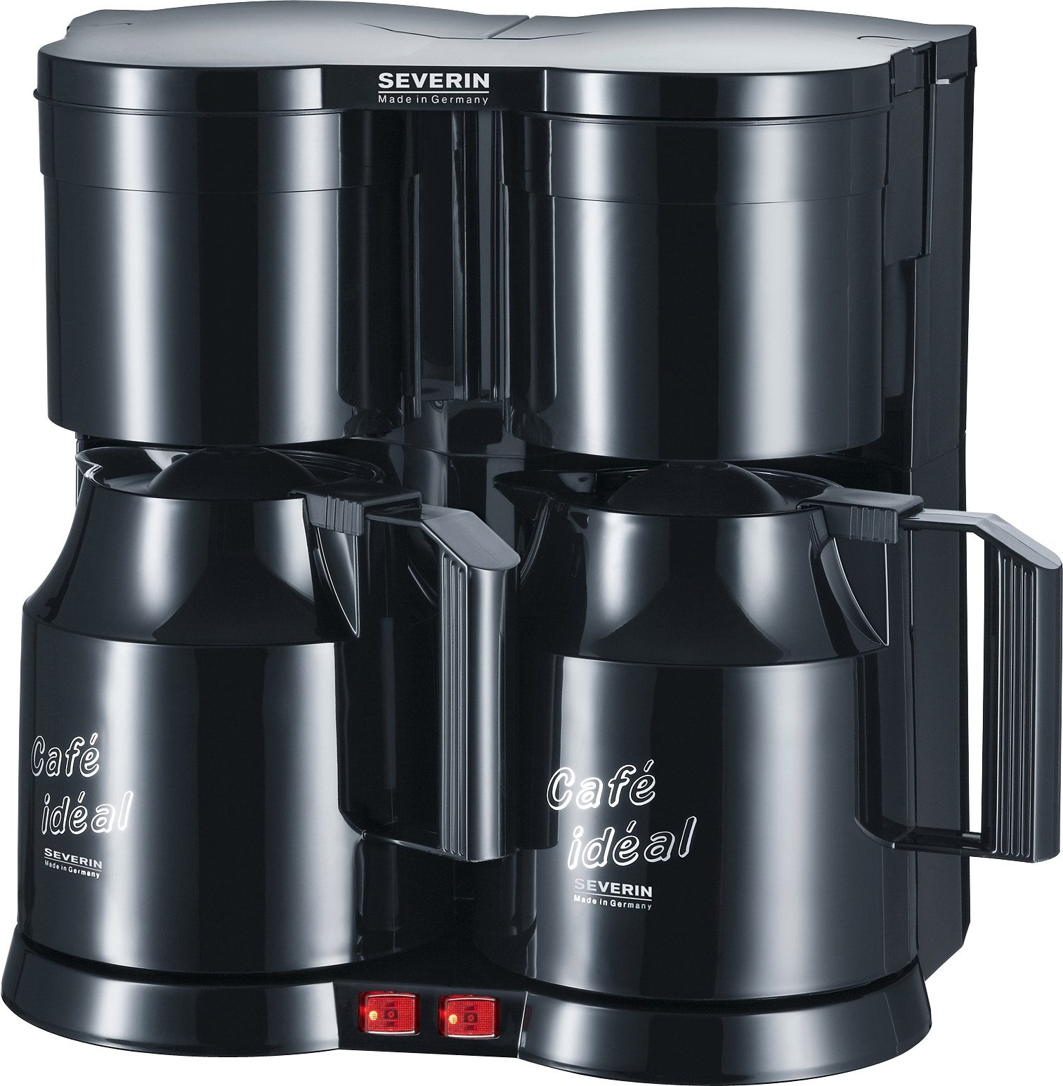 Severin Filterkaffeemaschine Duo-Kaffeeautomat KA 5828, 1,2l Kaffeekanne, Papierfilter 1x4, mit 2 Thermokannen