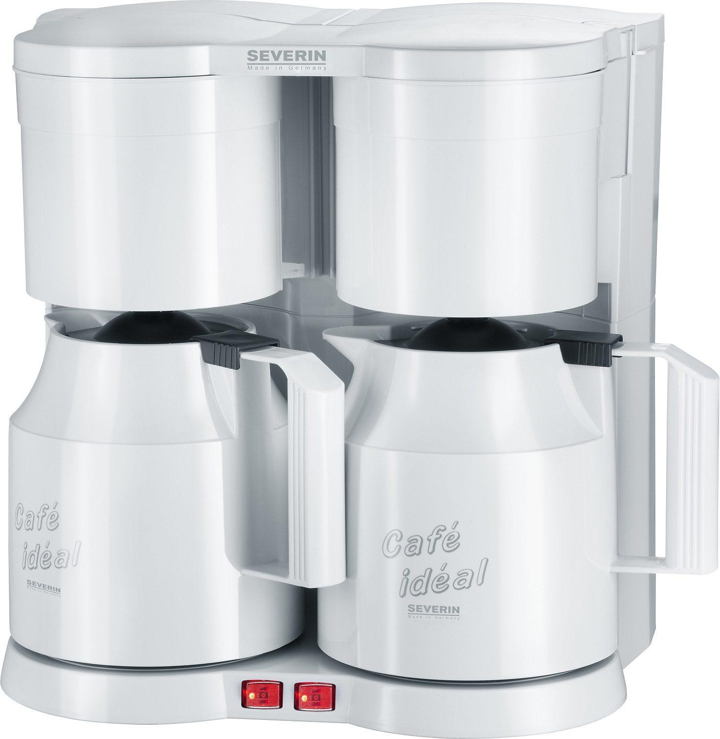 Severin Filterkaffeemaschine Duo-Kaffeeautomat KA 5827, 1,2l Kaffeekanne, Papierfilter 1x4, mit 2 Thermokannen
