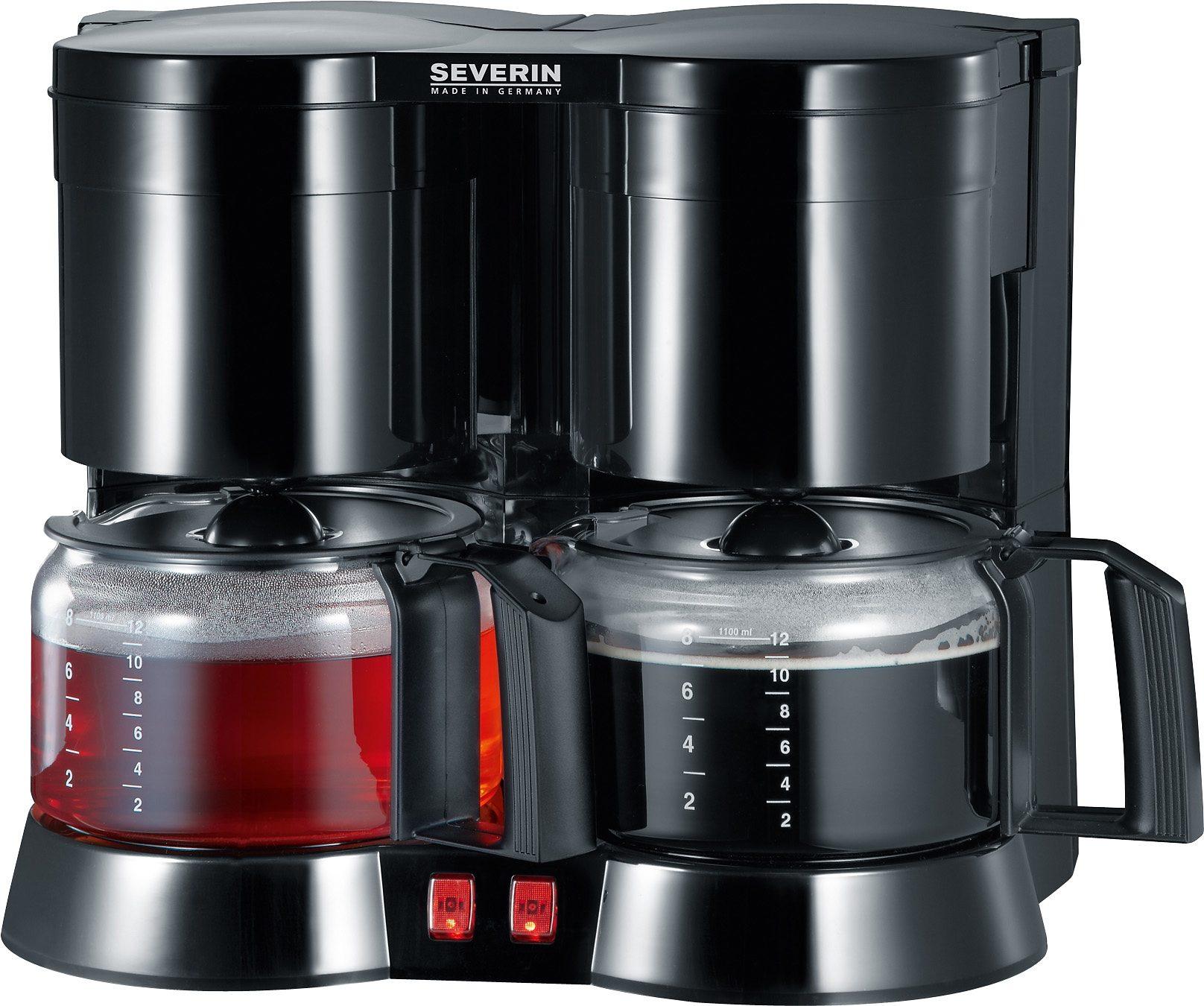 Severin Filterkaffeemaschine Duo-Kaffeeautomat KA 5802, 1,2l Kaffeekanne, Papierfilter 1x4, inkl. 1 Teefilter