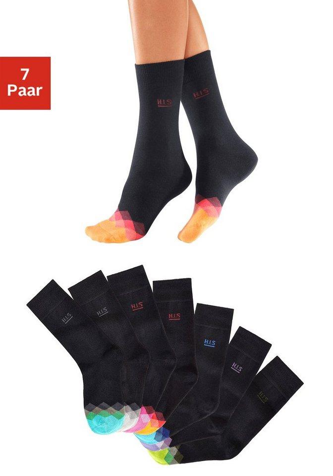H.I.S Schwarze Socken (7 Paar) mit bunt gemusterter Spitze in 7x schwarz mit Spitzen-Design