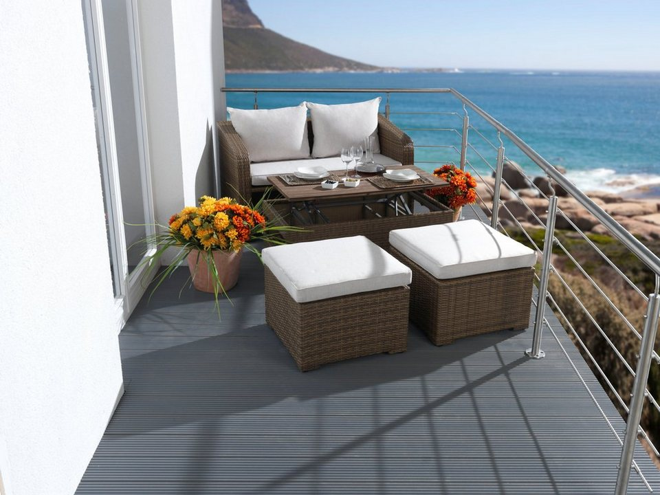 9-tgl. Loungeset »Jersey«, 2er-Sofa, 2 Hocker, Tisch 107x108 cm, Polyrattan in braun