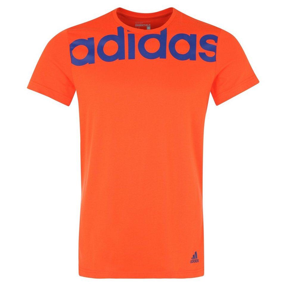 adidas Performance Essentials Linear Trainingsshirt Herren in orange / blau