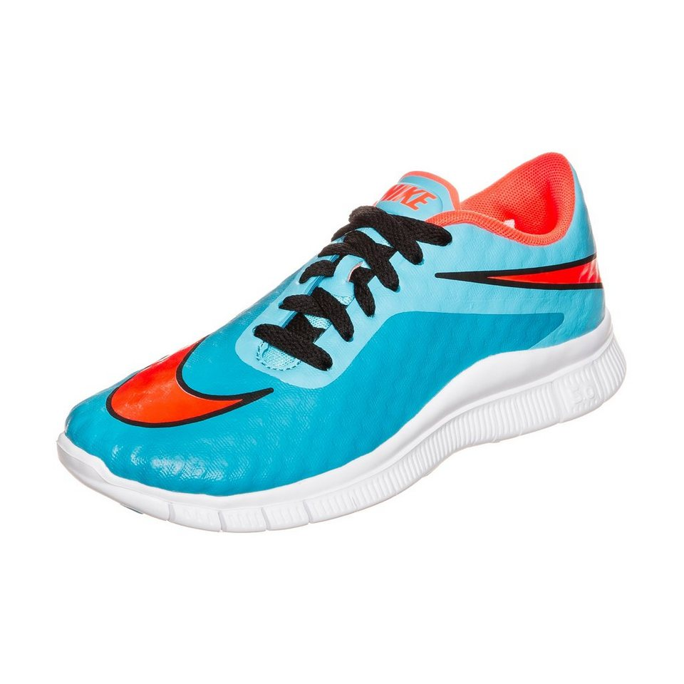 NIKE Free Hypervenom Laufschuh Kinder in blau / orange / weiß