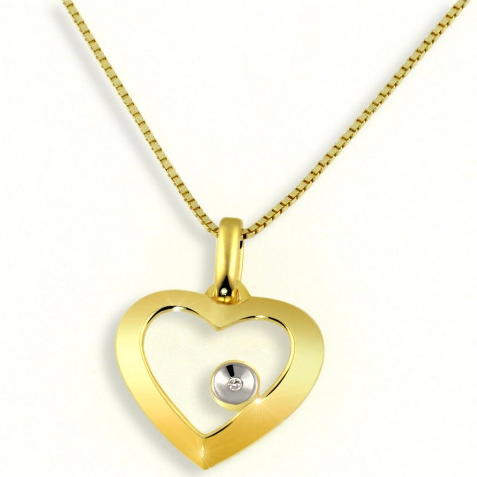 Averdin Collier Gelbgold 585/- Herz mit Diamant in goldfarben