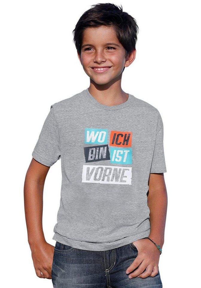 """CFL T-Shirt """"WO ICH BIN IST VORNE"""" in grau-meliert"""