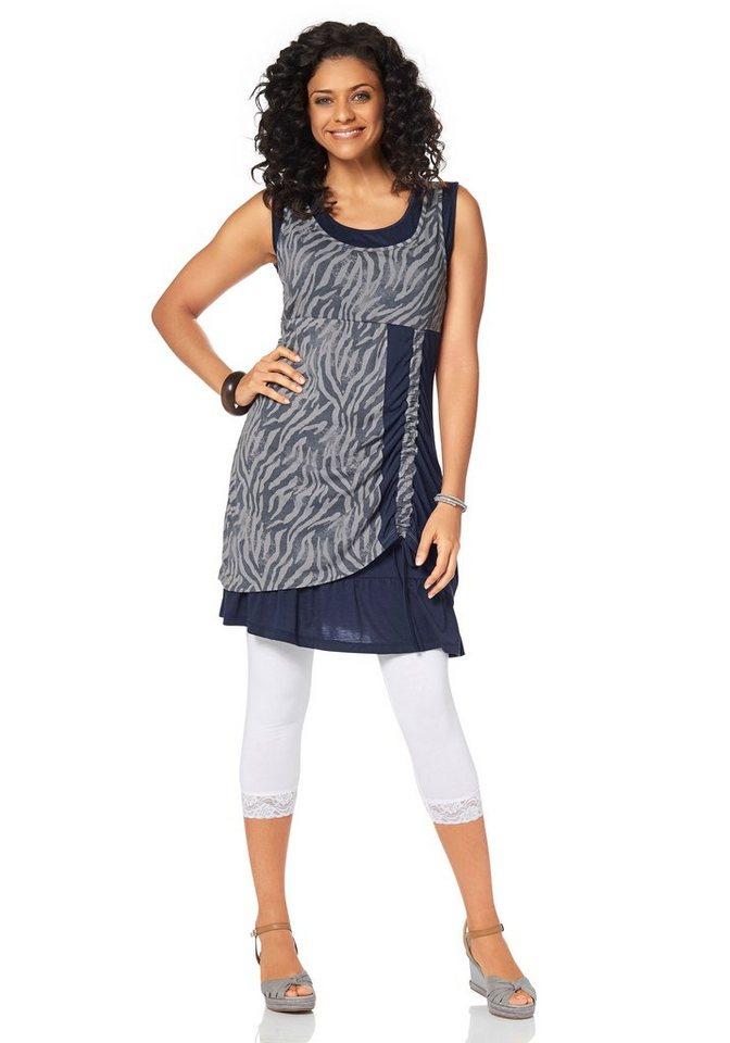 Boysen's Jerseykleid im Lagenlook mit Raffung in blau-grau