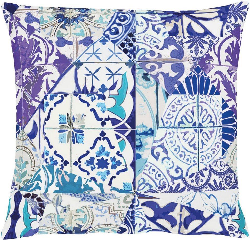 Kissen, Apelt, »3045 Kachelscherben« (1 Stück) in blau