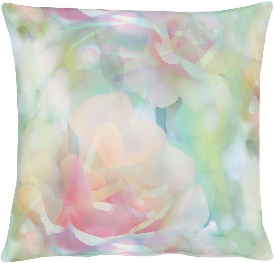 Kissenhüllen, Apelt, »2108 Aquarell Rose« (1 Stück) in türkis / rose