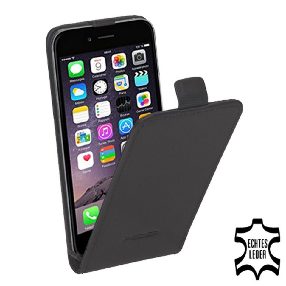 PEDEA Handytasche »Echtleder Flip Cover für iPhone 6, Anthrazit« in Grau