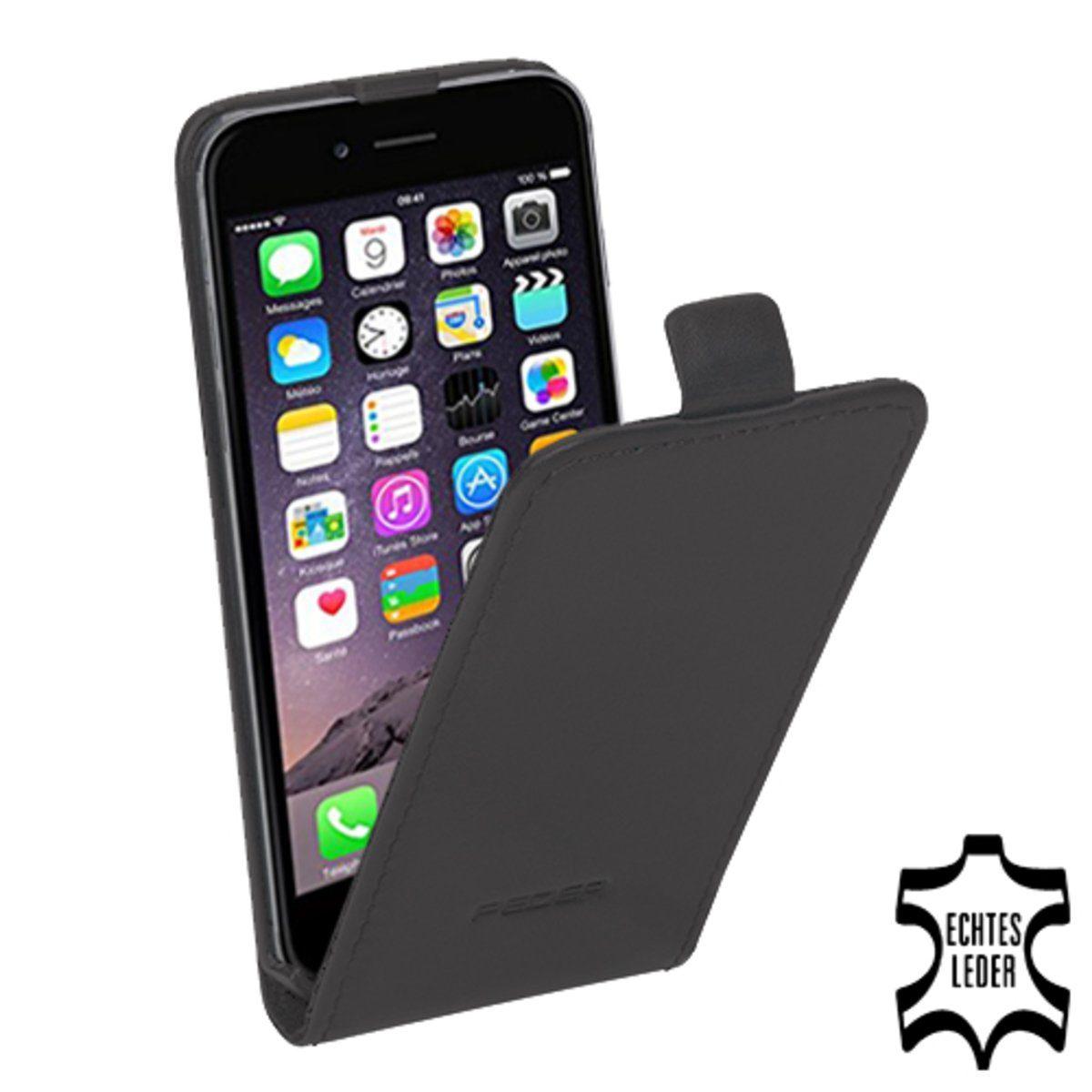 PEDEA Handytasche »Echtleder Flip Cover für iPhone 6, Anthrazit«