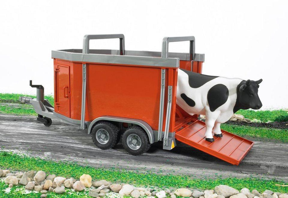bruder® Vieh-Anhänger + 1 Rind - rot in rot