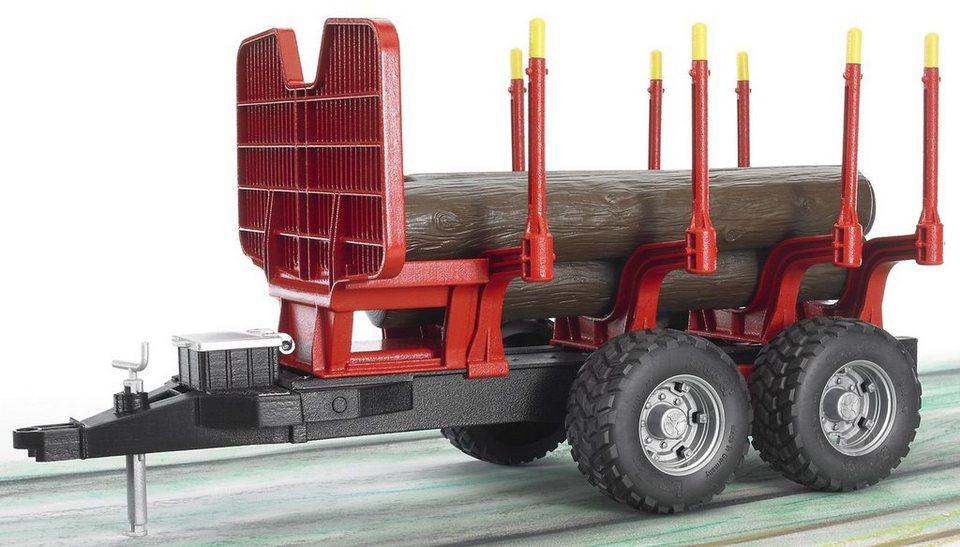 bruder® Anhänger, »Rückeanhänger + 4 Baumstämme« in rot