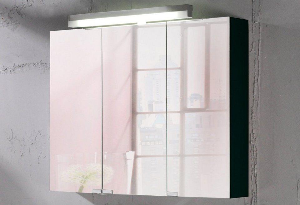 Spiegelschrank »Topline« Breite 90 cm, mit Beleuchtung in schwarz