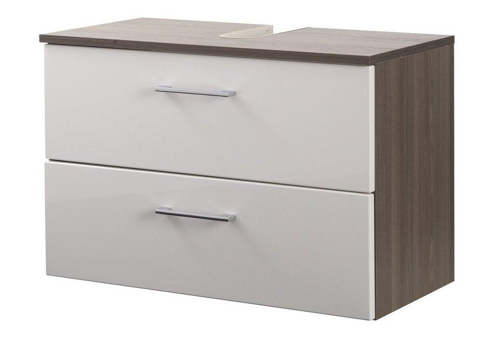 Waschbeckenunterschrank »Marinello« 70 cm in weiß/eichefarben dunkel