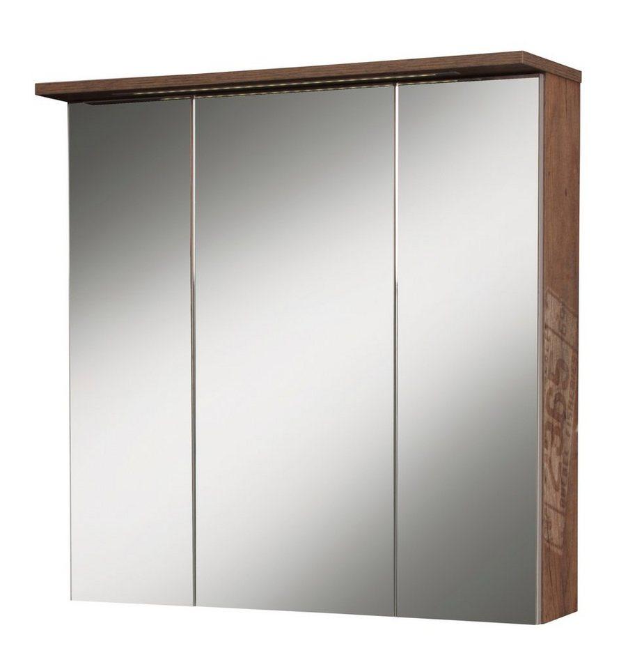Schildmeyer Spiegelschrank »London« Breite 70 cm, mit Beleuchtung in eichefarben