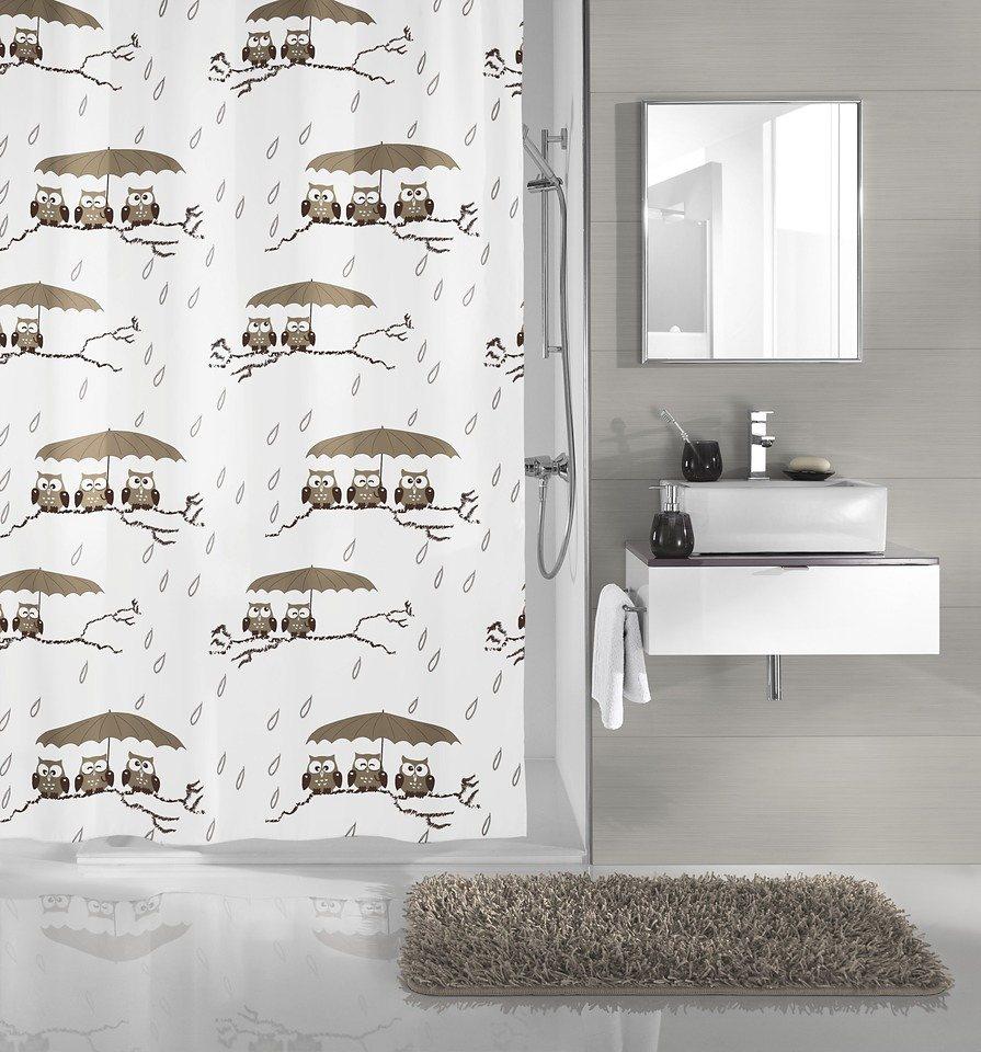 Duschvorhang »Eulen« in weiß