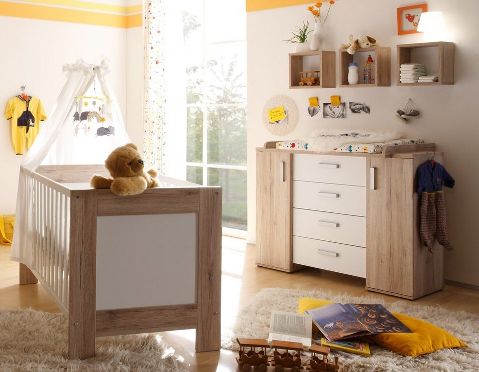 babyzimmer spar set bett und wickelkommode twin sanremo hell wei matt online kaufen otto. Black Bedroom Furniture Sets. Home Design Ideas