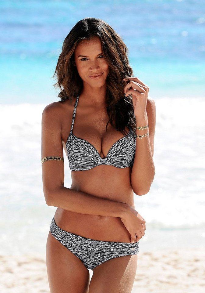 Venice Beach Umschlag-Bikini-Hose »Melange« in schwarz-weiß