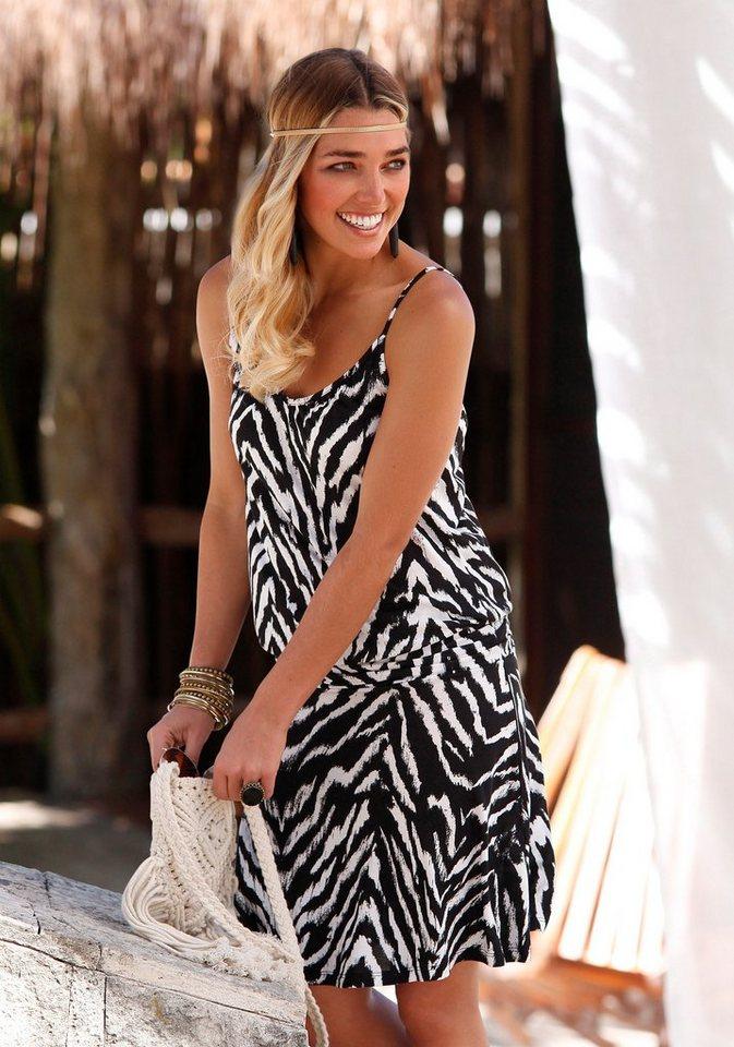 Beachtime Strandkleid mit Animalprint in schwarz-weiß bedruckt