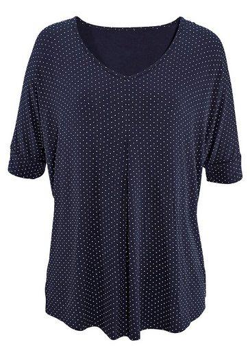 LASCANA gepunktetes Shirt mit Kellerfalte
