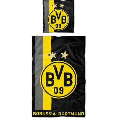 Bettwäsche »Bettwäsche BVB mit Streifenmuster, Baumwolle, 135«, Borussia Dortmund