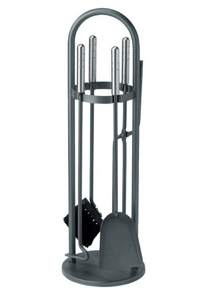 Kaminbesteck »Eisen beschichtet«, Set 4 tlg., Griffe aus Edelstahl in grau
