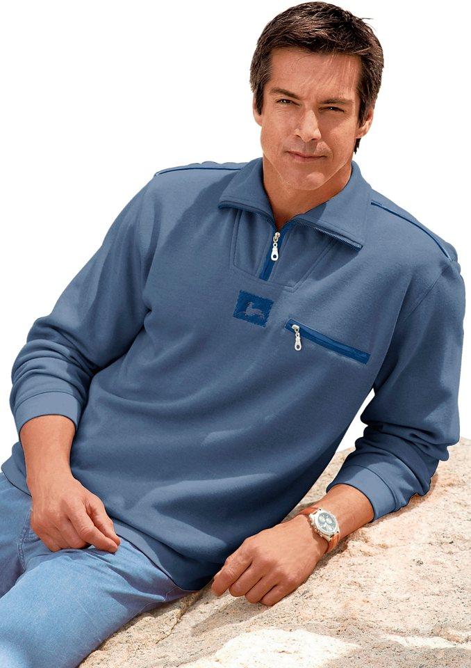 Catamaran Sweatshirt mit Landhaus-Applikation in jeansblau