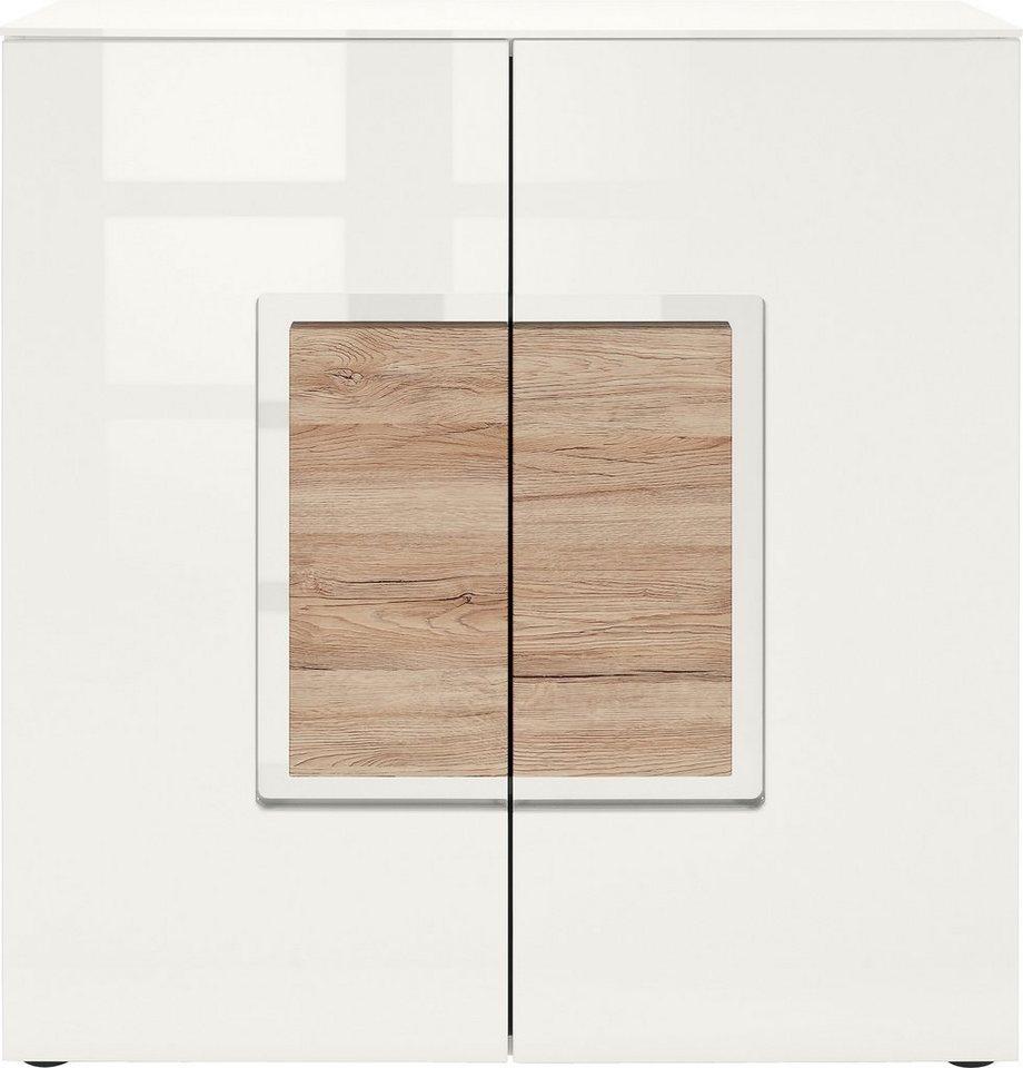 set one by Musterring Sideboard »arizona«, Hochglanz mit Absetzung in Holzoptik, Breite 95 cm in weiß/eichefarben