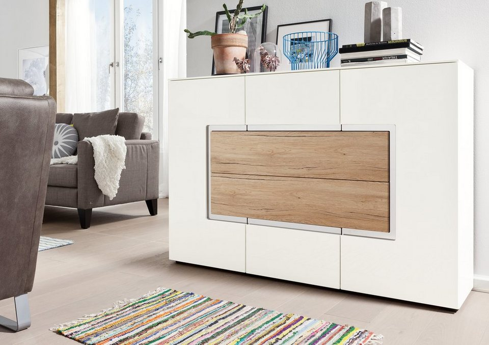 set one by musterring sideboard arizona hochglanz mit absetzung in holzoptik breite 143 cm. Black Bedroom Furniture Sets. Home Design Ideas