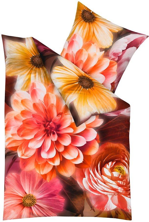 Bettwäsche, Kaeppel, »Illuminate«, mit Blütendruck in rot-orange